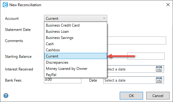 Easify Help - Finance - Doing a Reconciliation