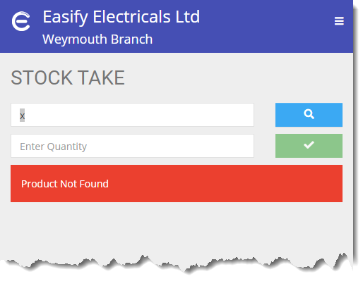 Easify Web - Stock Take Product not found