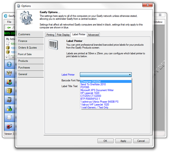 Easify Help - Installing a Zebra GK420d Thermal Label Printer