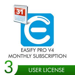Easify Pro V4 - 3 User Licenses Monthly Subscription