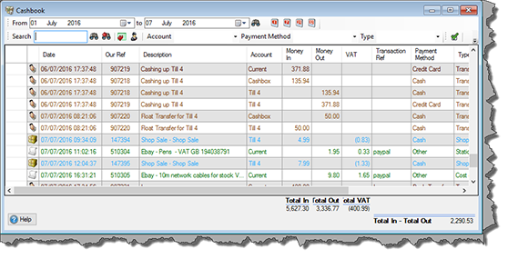 Real-time cashbook