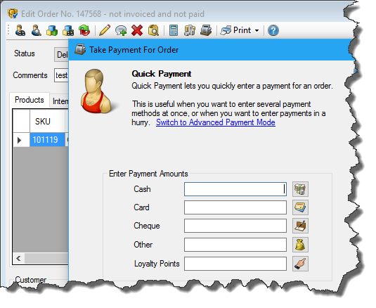 Taking payment in the back office